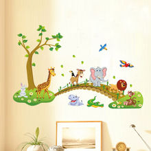 Jungle Animals Tree Bridge Wall Stickers for Kids Nursery Room Decorative Decal Art Mural Home Decor цена 2017