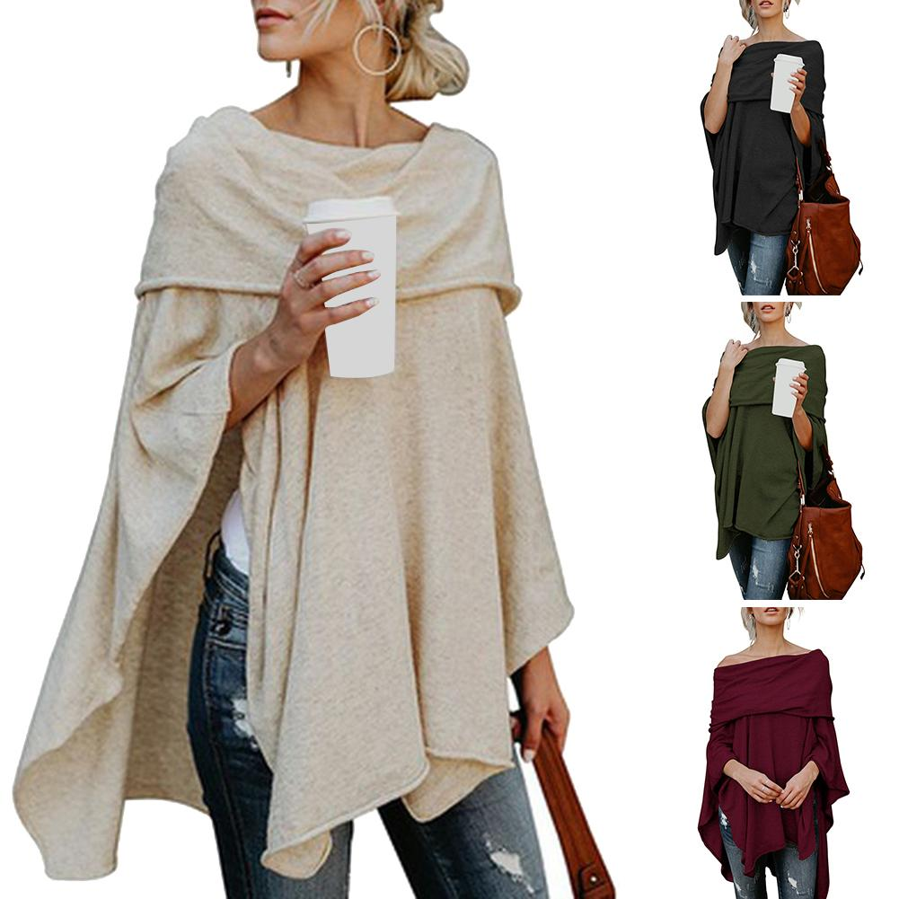 Women Scarf Shawl Poncho Fashionable Women's Solid Colour Strapless Pullover With Loose Cape With Irregular Hem Christmas Gift
