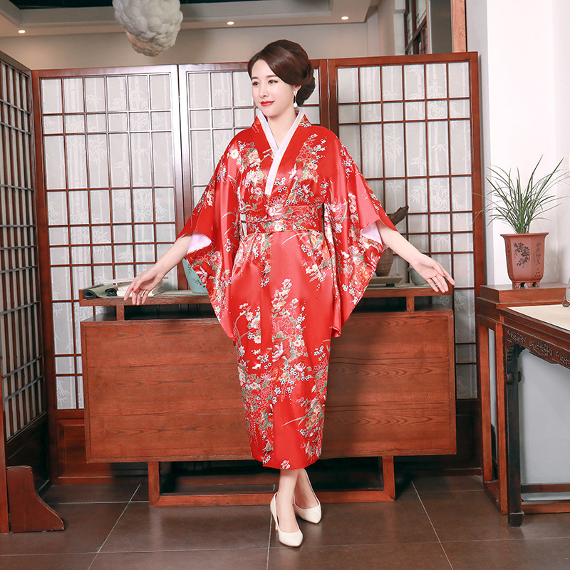 Vintage Japanese Women Red Kimono Sexy Yukata Gown Obi Ao Dai Evening Dress Femme Cosplay Costumes Haori Floral Fashion Clothing