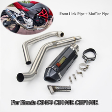 Slip On CB190 CBF190R Motorcycle Exhaust Full System Tube Muffler Tips Pipe Front Link Pipe With DB Killer For Honda CB190R motorcycle exhaust system muffler db killer system full exhaust muffler pipe front link pipe escape silencer for honda msx125