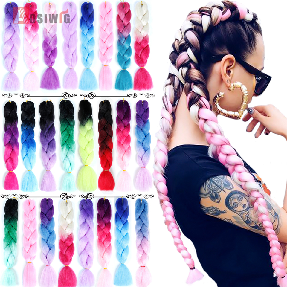 AOSIWIG 24'' 100g/pack Synthetic Ombre Braiding Hair Crochet Braids Hairstyles Hair Extensions Purple Pink Black