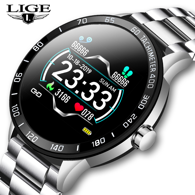 LIGE New Smart Watch Men Heart Rate Blood Pressure Monitor Information Reminder Waterproof Sport Steel Belt Smartwatch Pedometer