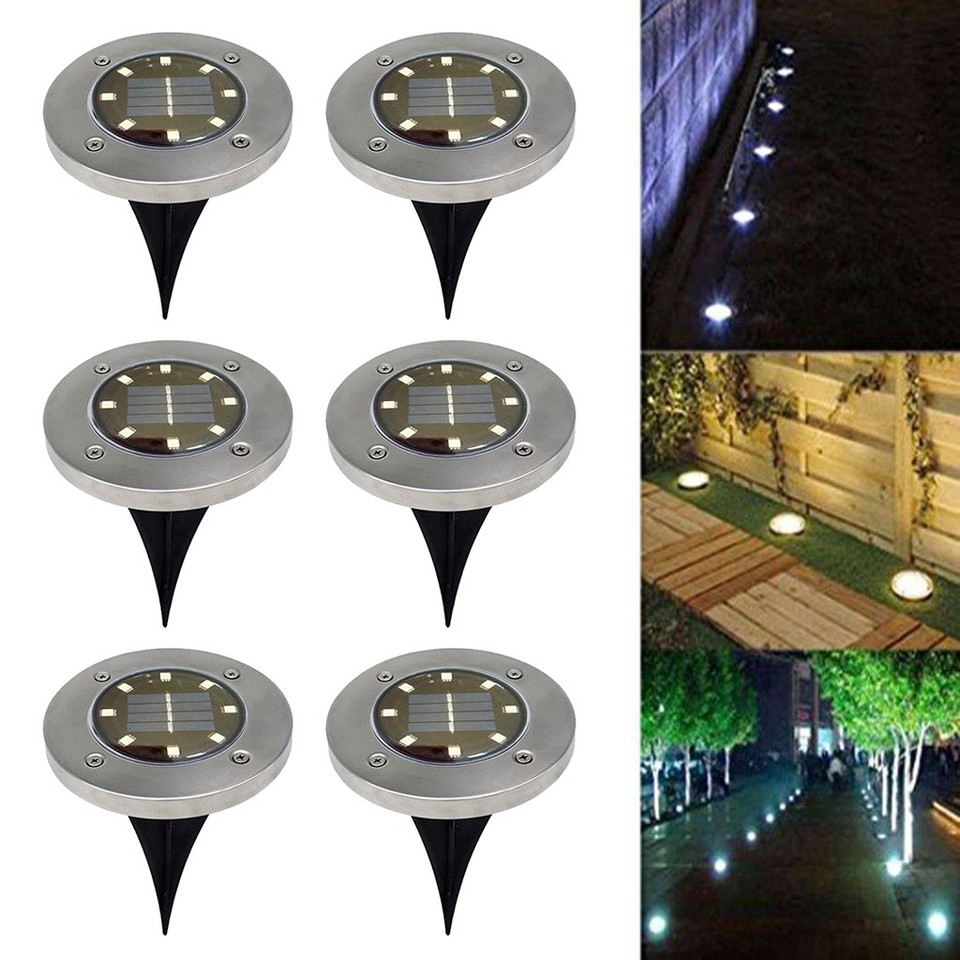 Solar Powered 8 LED-Beleuchtung vergraben Boden u Licht für Pfad Garten Ras LY