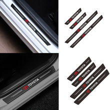 4 pçs porta do carro placa de limiar anti-risco de fibra de carbono adesivo para toyota camry chr corolla rav4 yaris prius acessórios