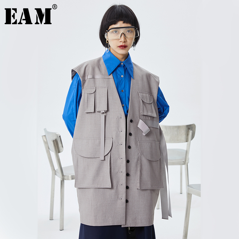 [EAM] Women Loose Fit Gray Pocket Split Joint Big Size Long Vest New V-collar Sleeveless Fashion Tide Spring Autumn 2020 1S979