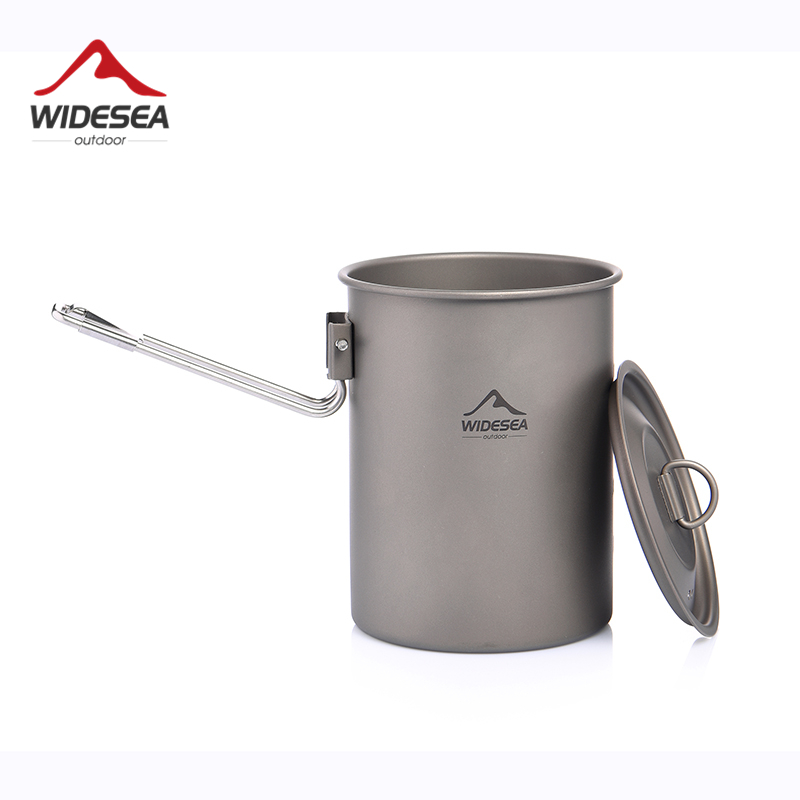 Widesea Camping Cookware Titanium Tableware Tourist Pot Outdoor Cooking Kitchen Picnic Utensils Backpack Hiking Trekking