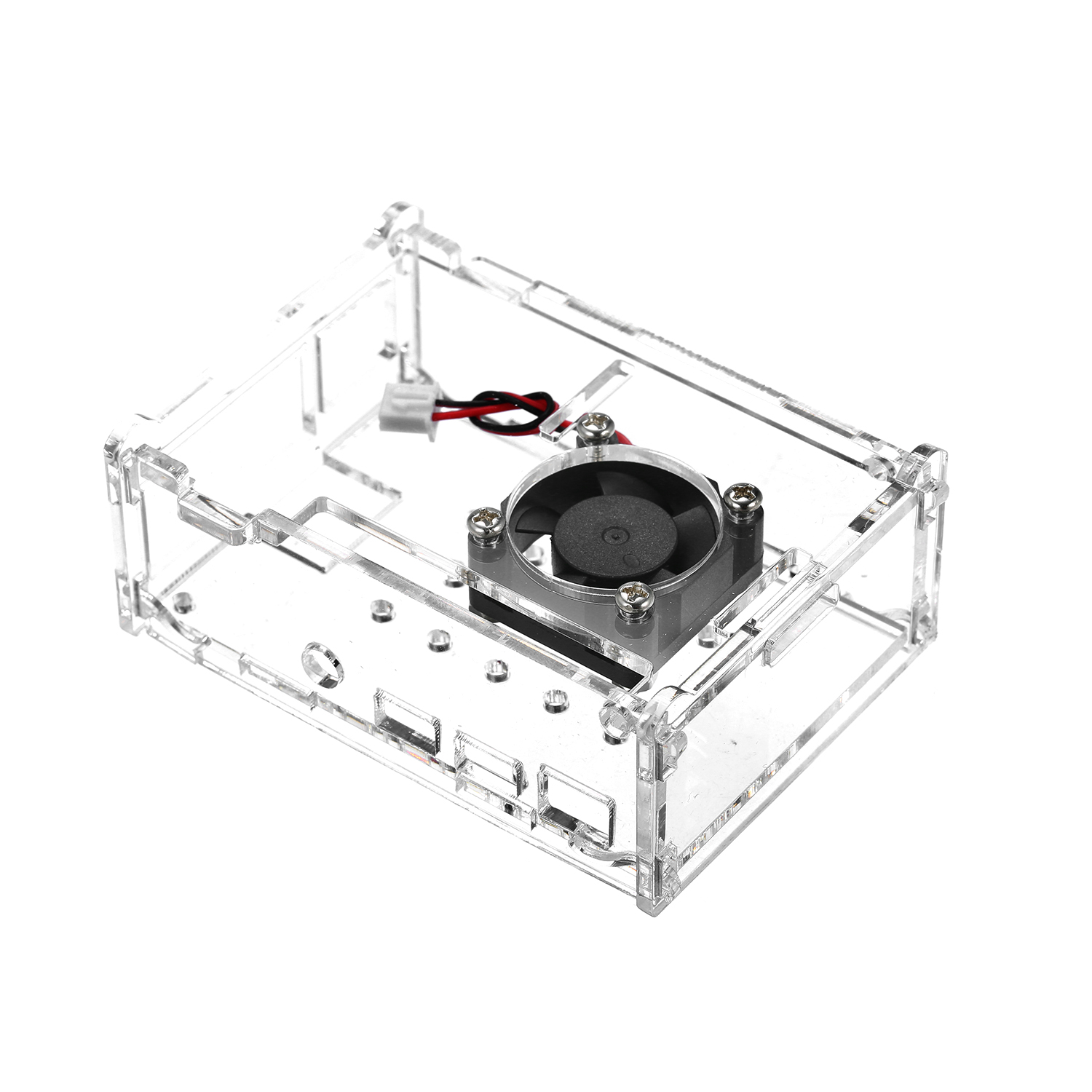 US Clear Acrylic Case Enclosure Box with Cooling Fan for Raspberry Pi 4 Model B