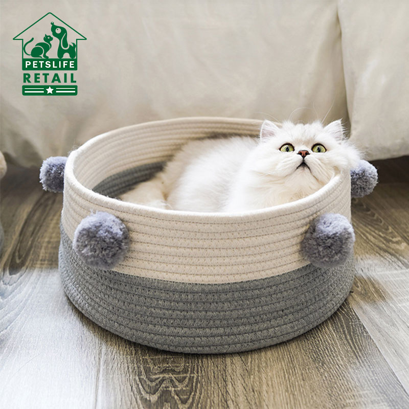 Weave <font><b>Cat</b></font> <font><b>Bed</b></font> <font><b>House</b></font> Dog <font><b>Bed</b></font> For Small Dogs <font><b>Cat</b></font> Basket Pompon Decorate All Seasons Sleeping <font><b>Bed</b></font> Puppy Mat Supplies Pet Rest <font><b>House</b></font> image
