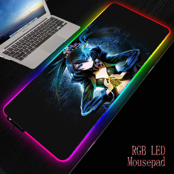 MRGBEST Black Rock Shooter Large Gaming Mouse Pad Gamer Computer Mouse Mat Locking Edge Mousepad Keyboard Desk Natural Rubber rakoon reejoyan gaming mouse pad anti slip pc computer gamer mousepad locking edge natural rubber mouse mat for cs go lol dota2