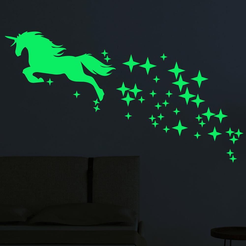 Luminous Stickers Cartoon Unicorn Horse Star Pattern Creative Carved Fluorescent Sticker Glow In The Dark Toy