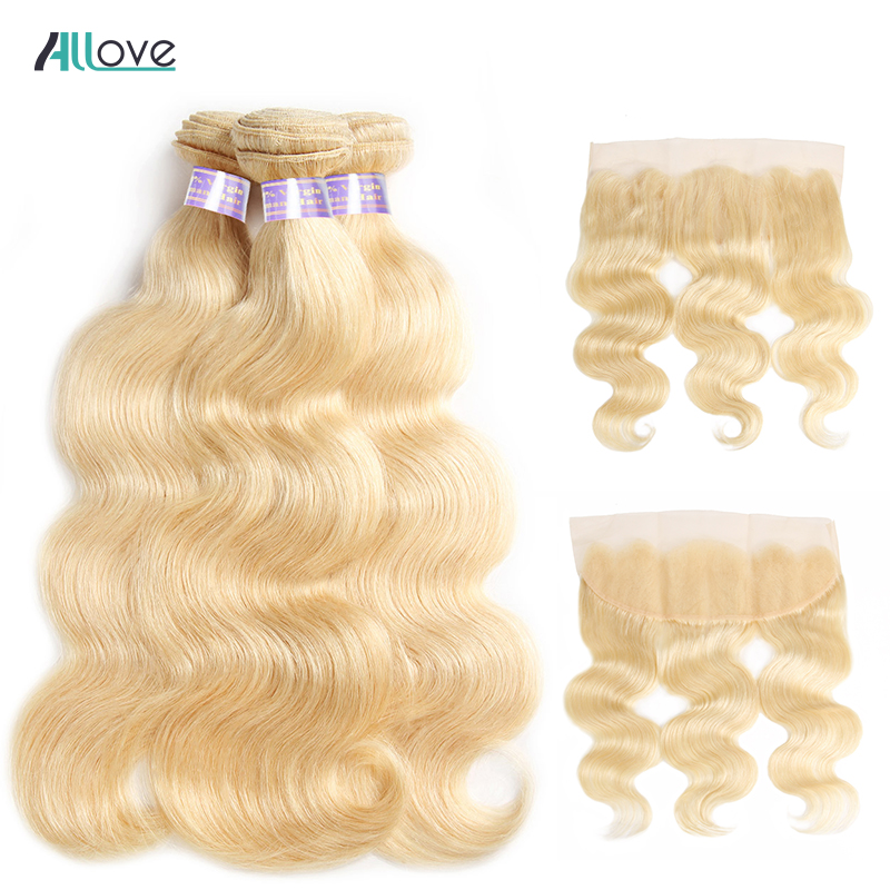 Allove Blonde 613 Body Wave Bundles With Frontal Remy Malaysian Human Hair Bundles with Closure Ear