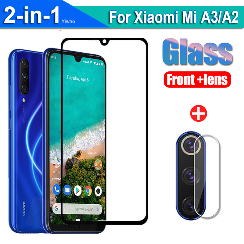2 in 1 Protective Glass for Xiaomi Mi A2 A3 Screen Protector On for Xiaomi Mia3 MiA2 Mia 3 A 2 Camera Lens Film Tempered Glas(China)