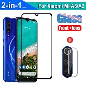 2 w 1 szkło ochronne dla Xiaomi Mi A2 A3 ochraniacz ekranu dla Xiaomi Mia3 MiA2 Mia 3 A 2 obiektyw aparatu Film szkło hartowane