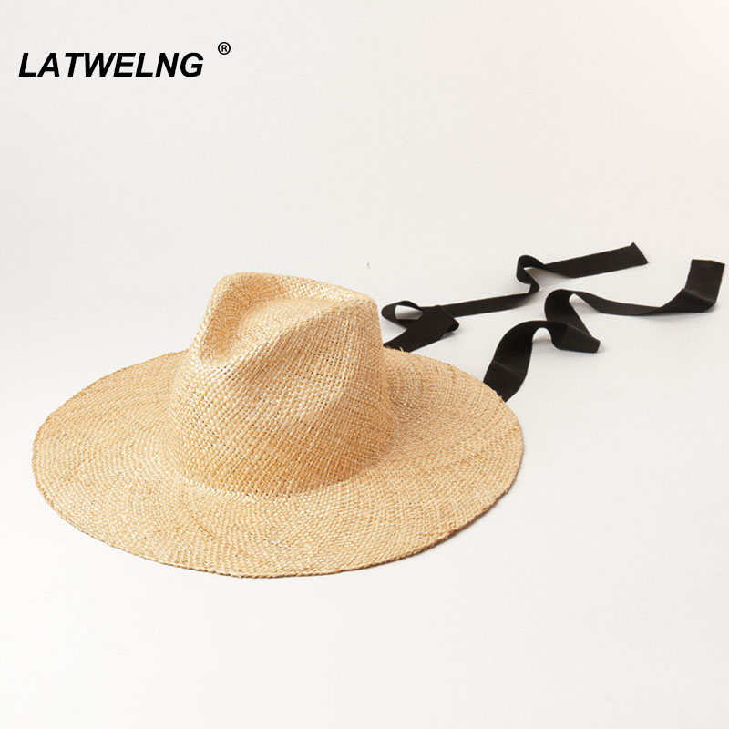 Fashion Precious Grass Panama Hat For Women Long Ribbon Summer Sun Beach Hats Wide Brim Ladies Holiday Seaside Gifts Wholesale