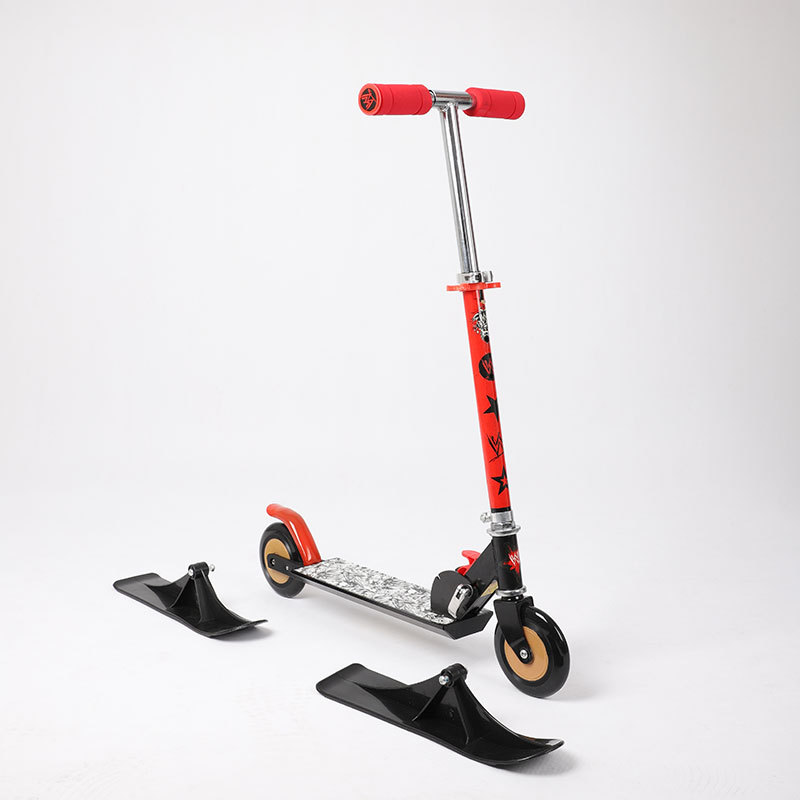 Original Snow Sled Ski Scooter For All Ages , Compact Winter Snow Kick & Ski Skooter