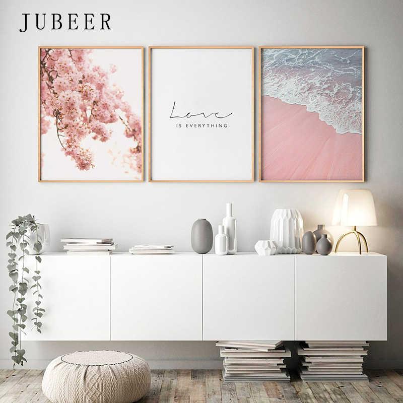 İskandinav tarzı Poster deniz plaj dekoratif resim pembe çiçek duvar sanatı oturma odası Nordic dekorasyon ev dekor
