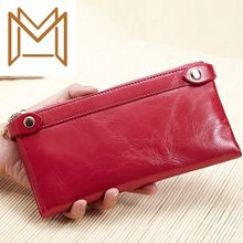 Genuine Leather Long Section Two Zipper Head Layer Oil Wax Wallet Capacity Card Package