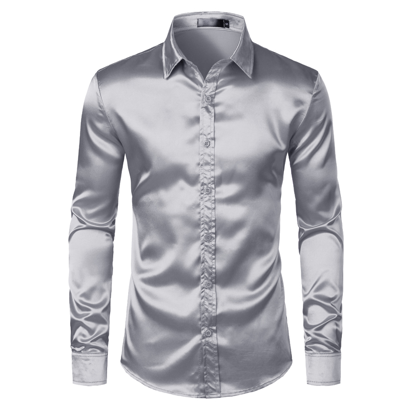 H17092a8b6e9e42e4a55a726f2267a5795 Men's Black Satin Luxury Dress Shirts 2020 Silk Smooth Men Tuxedo Shirt Slim Fit Wedding Party Prom Casual Shirt Chemise Homme
