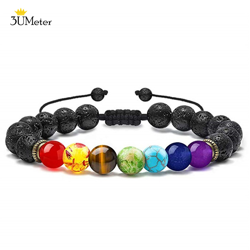 Bead Chakra Bracelet 7 Chakras Lava Rock Stone Bracelet Natural Stone Yoga Beads Bracelets Relax Healing Bangle for Men Women