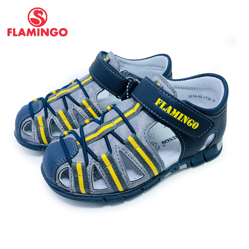 FLAMINGO 2020 Summer Hook&Loop Mixed Color Casual Kids Shoe Little Outdoor Sandals Flat For Boy Size 27-33 201S-HL-1739/1740