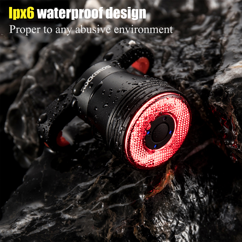 ROCKBROS Bicycle Light Smart Brake Sensing Light IPx6 Waterproof Ultra-light LED USB Charging Cycling Taillight Bike Accessories