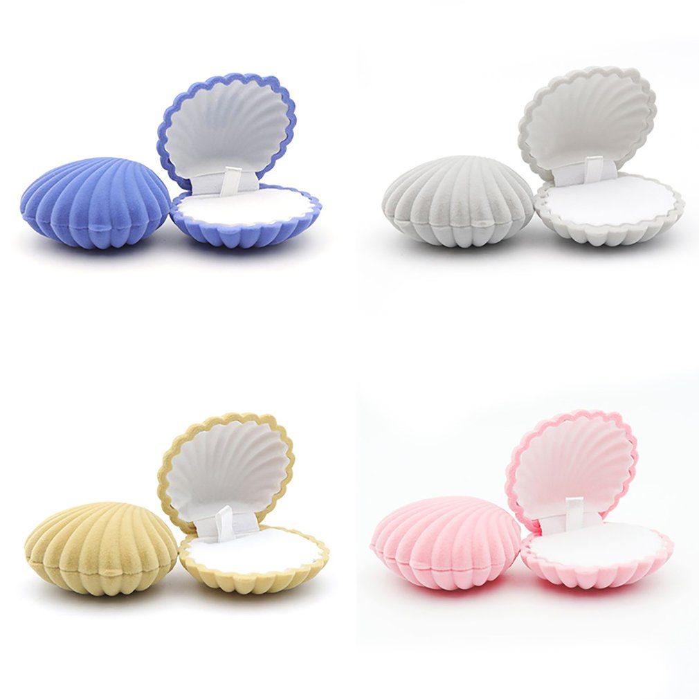 1PC Mini Shell Shape Lovely Velvet Wedding Engagement Ring Box For Earrings Necklace Bracelet Jewelry Display Gift Box Holder