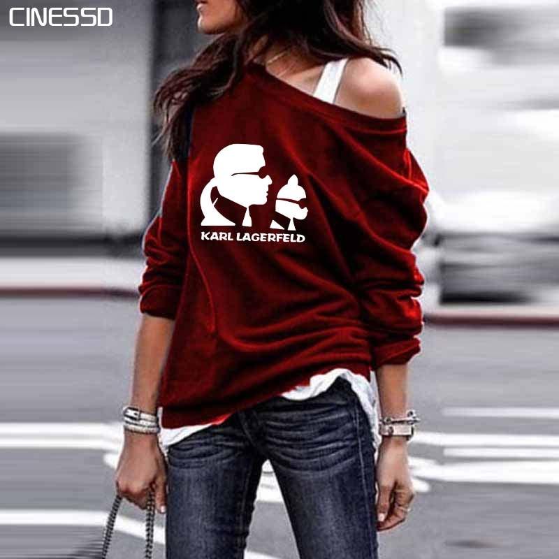 Off Shoulder Womens Vintage 2019 Plus Size Karl Lagerfeld Funny Printed Sweatshirt Kawaii Autumn Loose Cotton Casual Tops Female