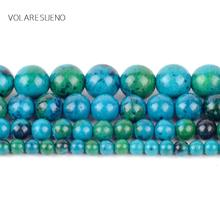 Chrysocolla Stone Round Loose Beads For Jewelry Making 4-12mm Spacer Beads Fit Diy Bracelet Necklace Accessory15'' natural stone chrysocolla approx 14x16mm oval shape loose beads approx 39cm diy jewelry making bracelet necklace