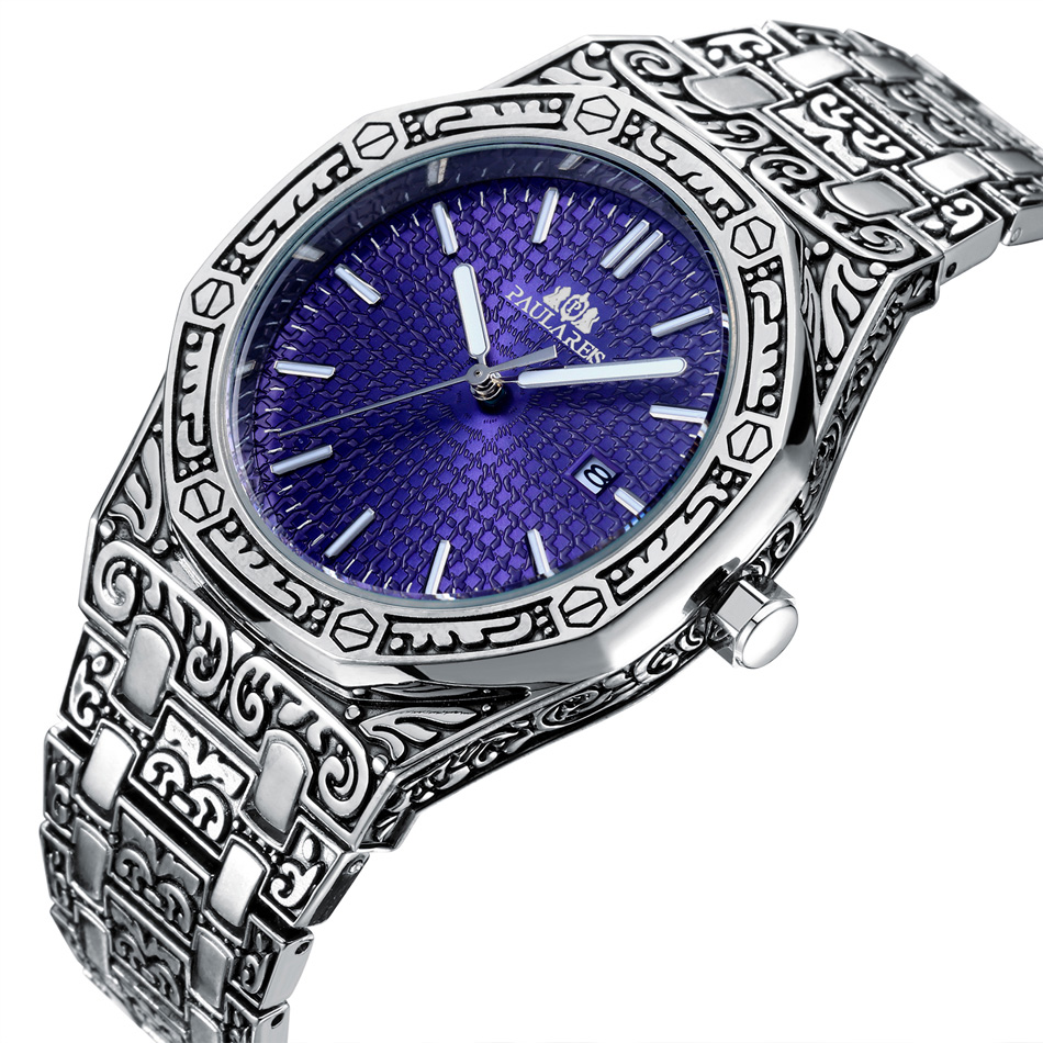 H1709c36ef63e44689ee881de35777cb6e Men Carved Antique Vintage Luminous Rose Gold Yellow Gold Silver 2 Tones Fashion Blue Classic Quartz luxury watch