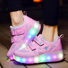 Size 27-40 New USB Charge LED Colorful Children Kids Fashion Sneakers with Two Wheels Roller Skate Shoes Boys Girls Shoes Pink