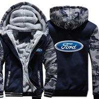 Ford Hoodies Winter Camouflage Sleeve Jacket Men Wool Liner Fleece Ford Logo Sweatshirts
