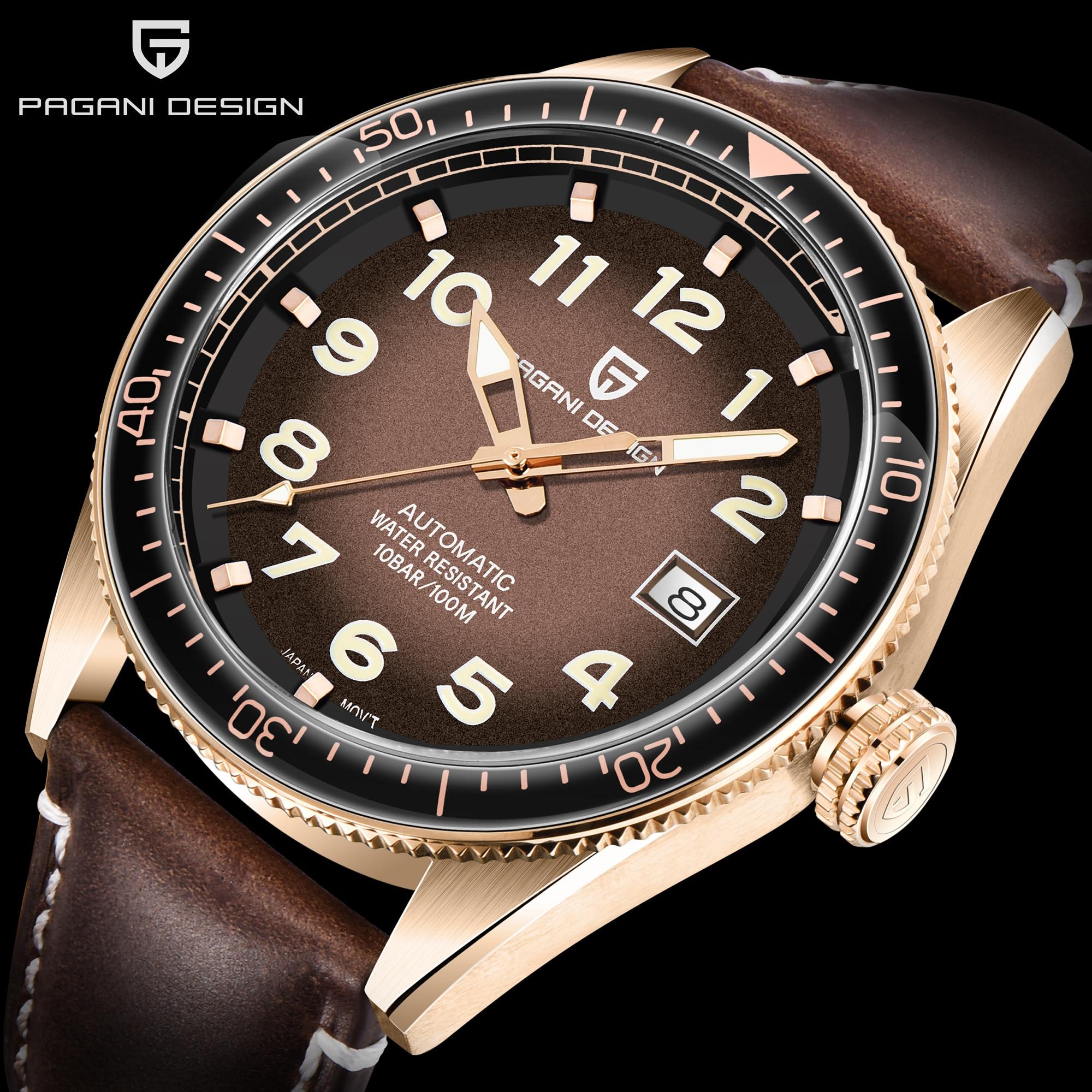 PAGANI Design Brand Men Mechanical Wristwatch Fashion Mens Automatic 100M Waterproof Leather Watches Rolexable Clock Sports Dive