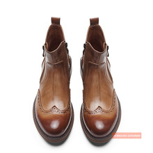 Man #8217 s Chelsea Shoes With Brogue Details Leather Shoes High Class Cow Skin Cool Man Boot Stylish Rich Business Man Royal Boots cheap aurollina Genuine Leather Cow Leather Slip-On Pig Split Paisley Adult Fits true to size take your normal size 01683-03