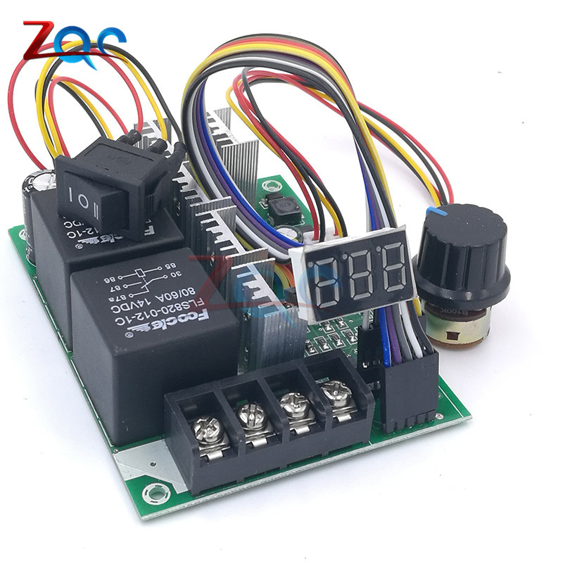 PWM DC Motor Speed Controller DC10-55V Digital Display 0~100% Adjustable Drive Module Input MAX 60A 12V 24V 36V 48V
