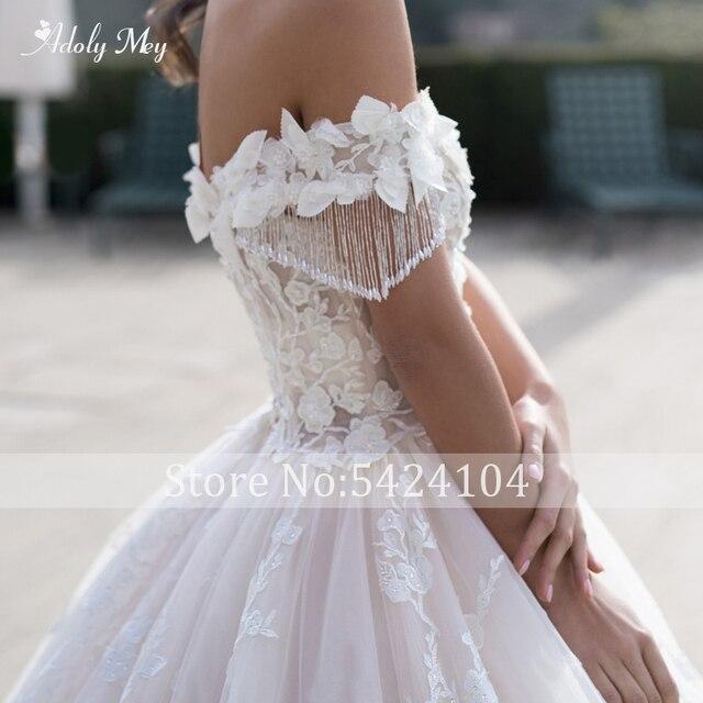 Adoly Mey Gorgeous Appliques Flowers A-Line Wedding Dresses 2021 Luxury Beaded Boat Neck Lace Up Princess Bridal Gown Plus Size 4