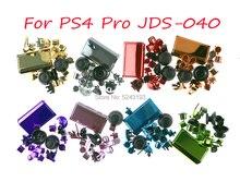 طقم أزرار كروم L1 R1 L2 R2 Thumbstick غطاء بديل لجهاز تحكم PS4 Pro لـ PS4 4.0 JDS 040 JDM 040 طقم أزرار