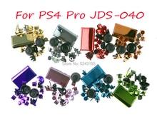 크롬 버튼 키트 l1 r1 l2 r2 ps4 4.0 jds 040 jdm 040 버튼 키트 용 ps4 pro 컨트롤러 용 썸 스틱 캡 교체