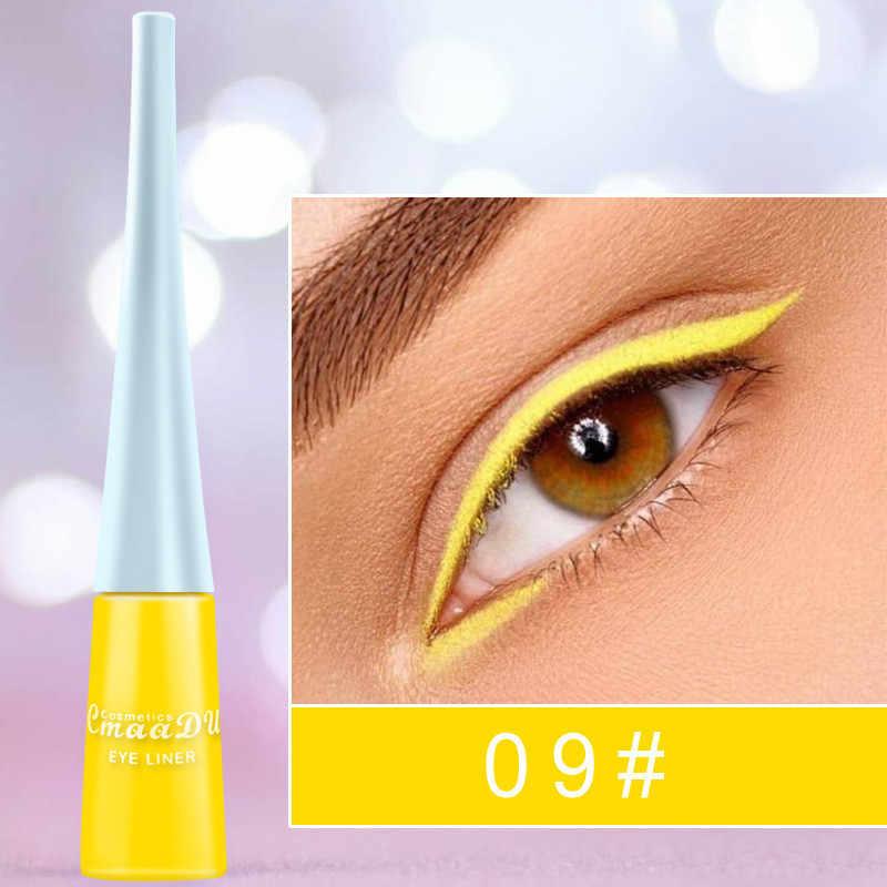 Bunte Neon Grün Weiß Matt Flüssigen Eyeliner Bleistift Wasserdicht Make-Up Flüssigkeit Eye Liner Blau Grün Gelb Augen Kosmetik Stift