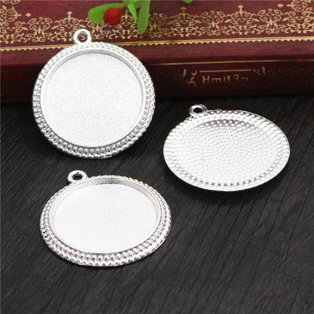 New Fashion  3pcs 25mm Inner Size Silver Plated Vintage Cabochon Base Setting Charms Pendant (A4-42)