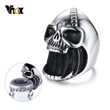 Vnox Multi Function Skull Ring for Men Bottle Opener Stainless Steel Skeleton Gothic Biker Punk Vintage Scar Jaw Male Alliance(China)
