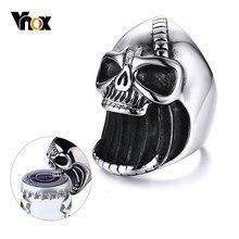 Vnox anillo de calavera multifunción para hombres abrebotellas Acero inoxidable esqueleto gótico motorista Punk Vintage cicatriz Jaw alianza masculina
