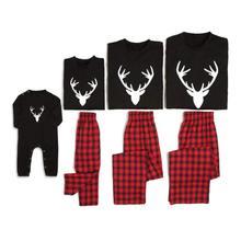 Рождественские Семейные пижамы; комплекты одинаковой одежды с принтом оленя; одежда для сна для папы, мамы и ребенка; Семейные рождественские пижамы