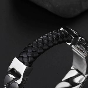 Image 3 - 2020 ファッションホワイトブラックブレイド織革のブレスレットチタンステンレス鋼仏ブレスレット男性男性ジュエリーヴィンテージギフト