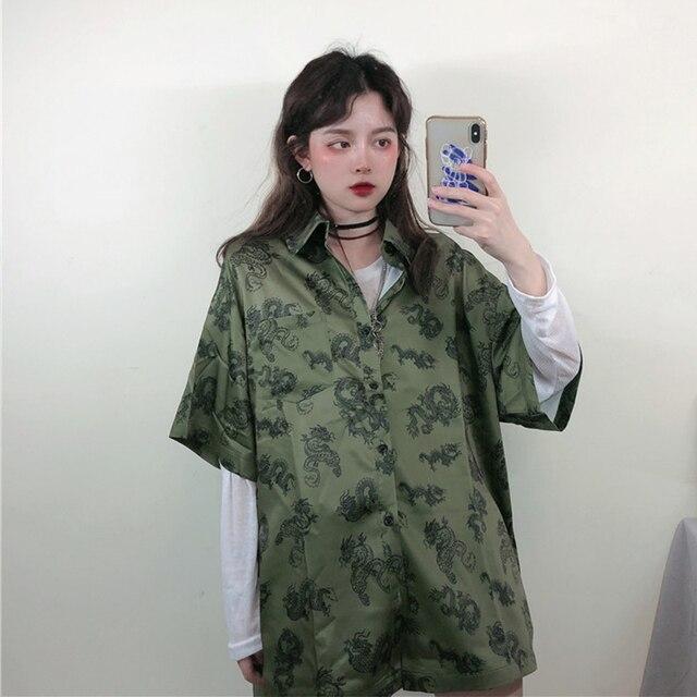 2021 Summer Spring Women Blouses BF style oversized shirts Harajuku Tops Dragon Printing Short Sleeve Shirts Female Streetwear 5