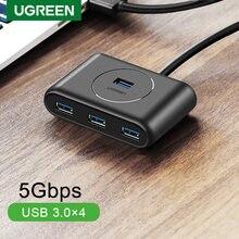 Ugreen-Hub USB 3,0 de 4 puertos, divisor USB de alta velocidad para discos duros, accesorios de ordenador, unidad Flash, ratón y teclado