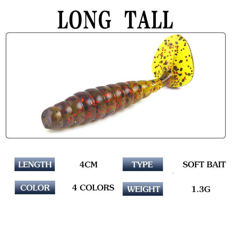 Wobbler leurre à ver souple pesants1.3g/4cmt leurres de pêche appâts à queue molle appât à ver 4 couleurs T mouche artificielle Silicone carpe appât de pêche