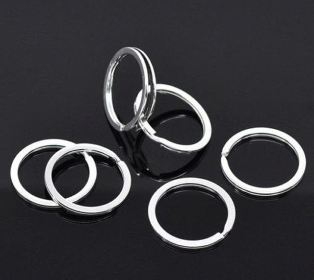 Silver Plated Metal Blank Keyring Keychain Split Ring Keyfob Key Holder Rings Women Men DIY Key Chains Accessories 3