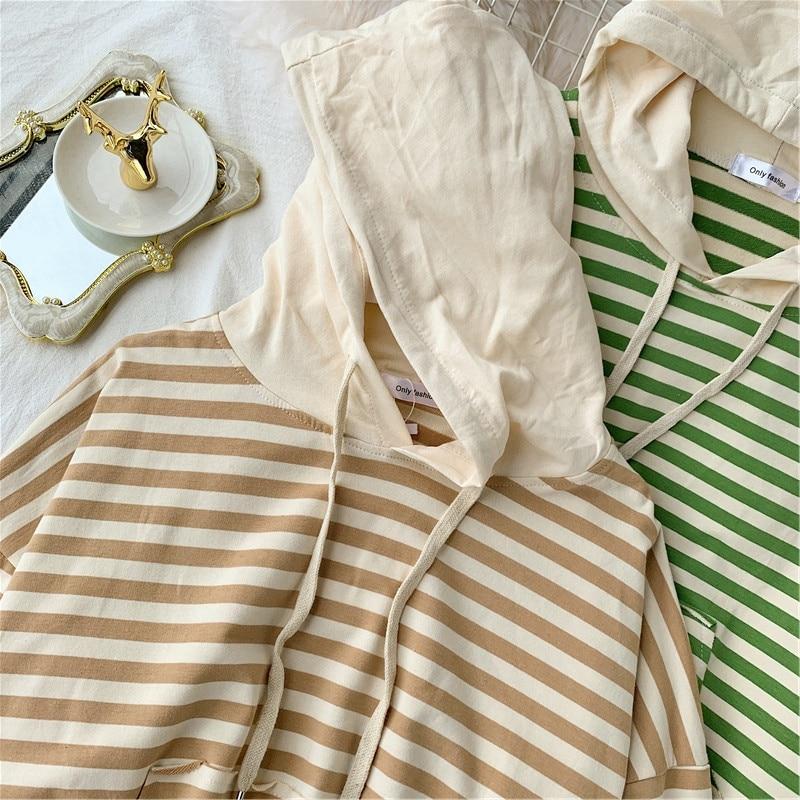 Women's Autumn Hoodies Striped Knit Sweatshirts Patchwork Hooded Woman Loose Lady Hoodie Japan Style Girls Tops LS202 46