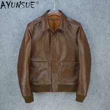 AYUNSUE Real Horse Leather Jacket Men Clothing Flight Suit Men's Motorcycle Coat Male Zipper Mens Clothes Ropa Hombre LXR502(China)
