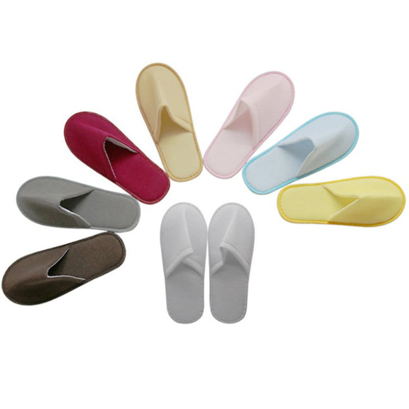 1Pair Hotel Disposable Slippers Home Guest Wedding Solid Color Brushed Slippers Women Men High Quality Large Size Soft Slipper